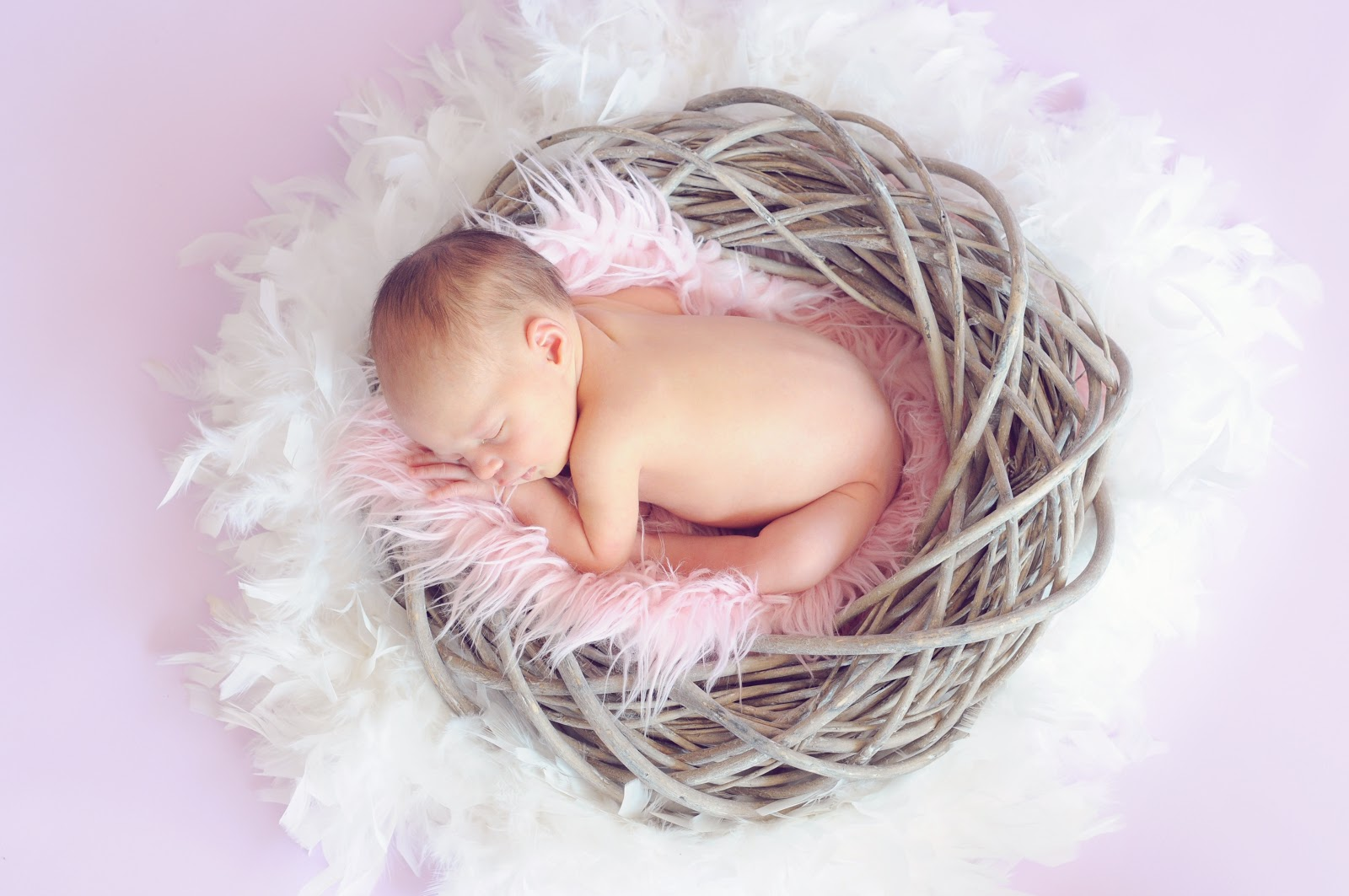 baby-sleeping-in-a-basket-and-a-round-feather-surrounding-images