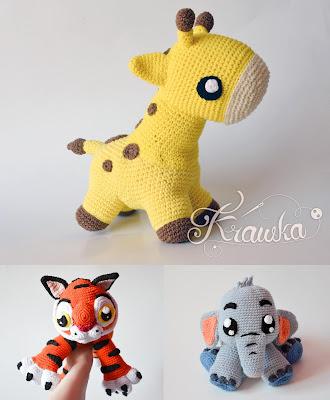 Krawka: Cute little chubby Giraffe - baby plush crochet pattern by Krawka, baby animal, wild animal giraffe tiger elephant patterns
