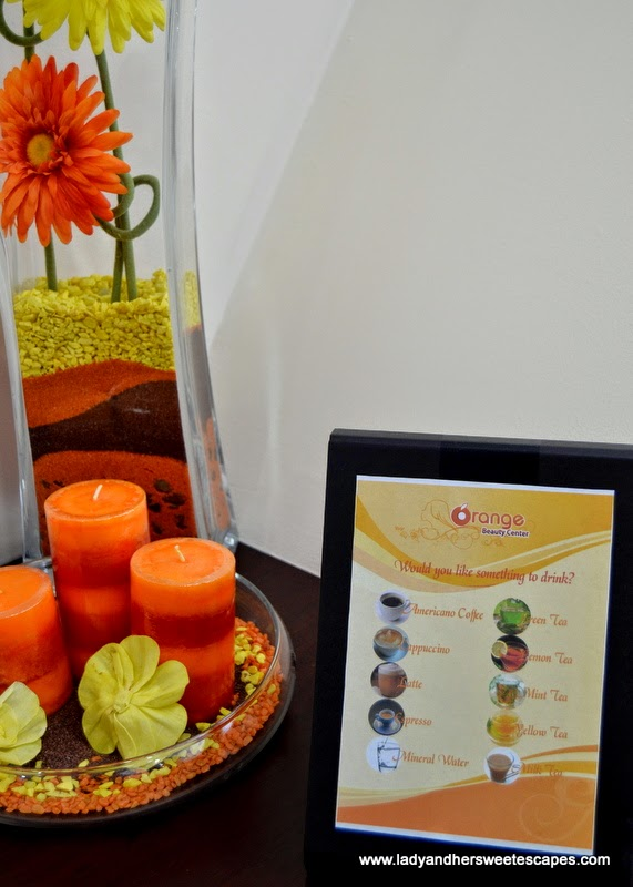 choices of drinks offered  at Orange Beauty Center