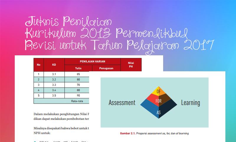 Juknis Penilaian Kurikulum 2013 Permendikbud Tahun Pelajaran 2017