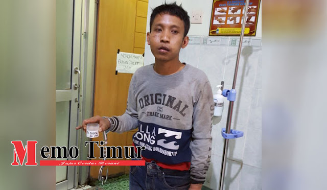 Didik pelaku curas saat menjalani Tes Urine di RS Bhayangkara