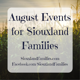 """in background, a corn field with a sunset sky behind it, in foreground the words """"August events for Siouxland Families"""""""