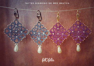 "Boucles d'oreilles ""Tatted Diamond"""