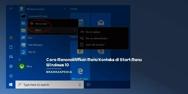 Cara Menonaktifkan Menu Konteks di Start Menu Windows 10
