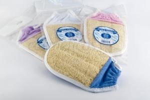 manopla ducha luffa y algodón