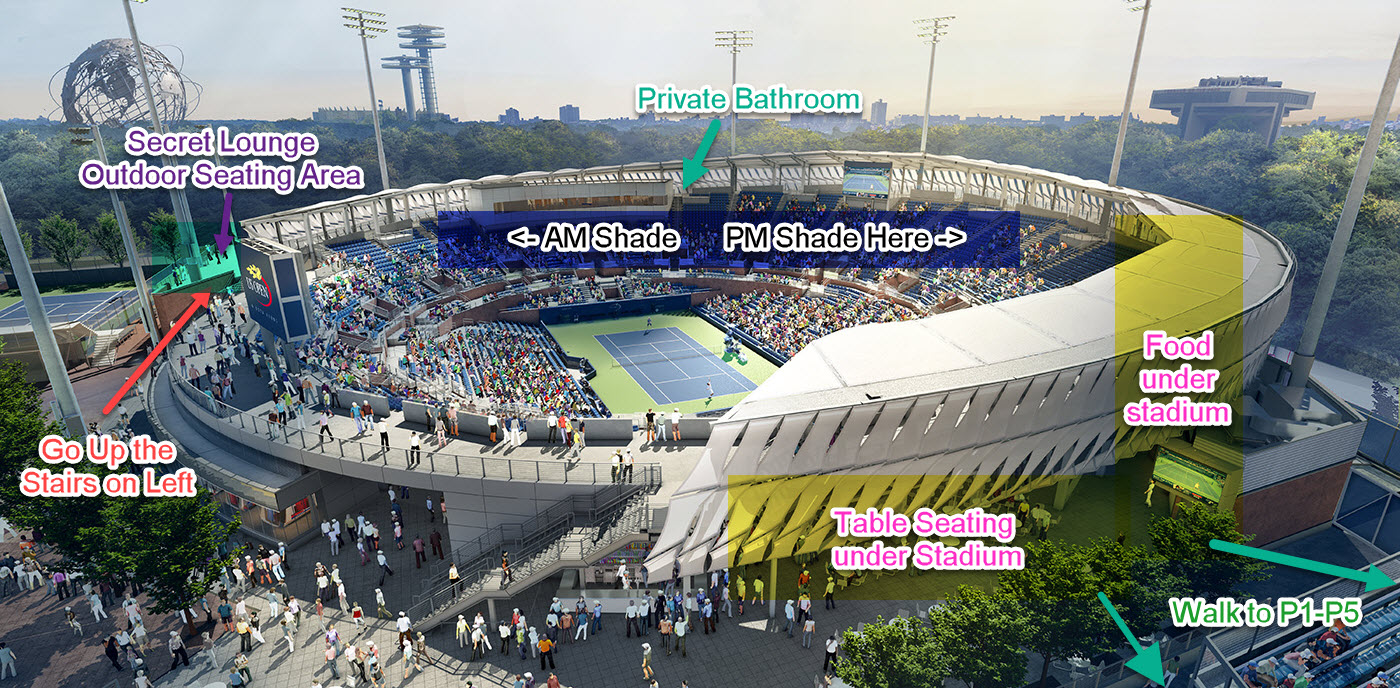 Us Open Shade Map 2018 For Ashe Stadium And Armstrong Tennis - Us-open-tennis-center-map