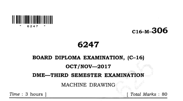 Sbtet Machine Drawing Previous Question papers oct-nov 2017