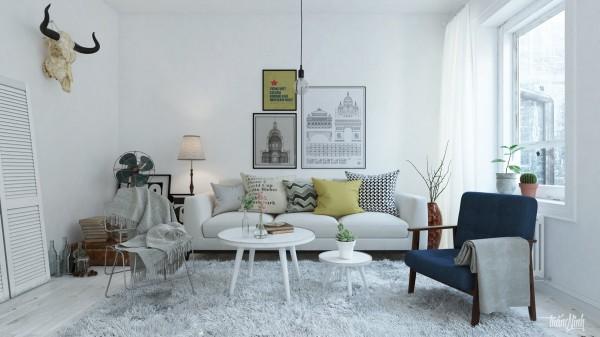 48 Desain Ruang Tamu Skandinavia, Interior Idaman Kekinian - Rumahku Unik