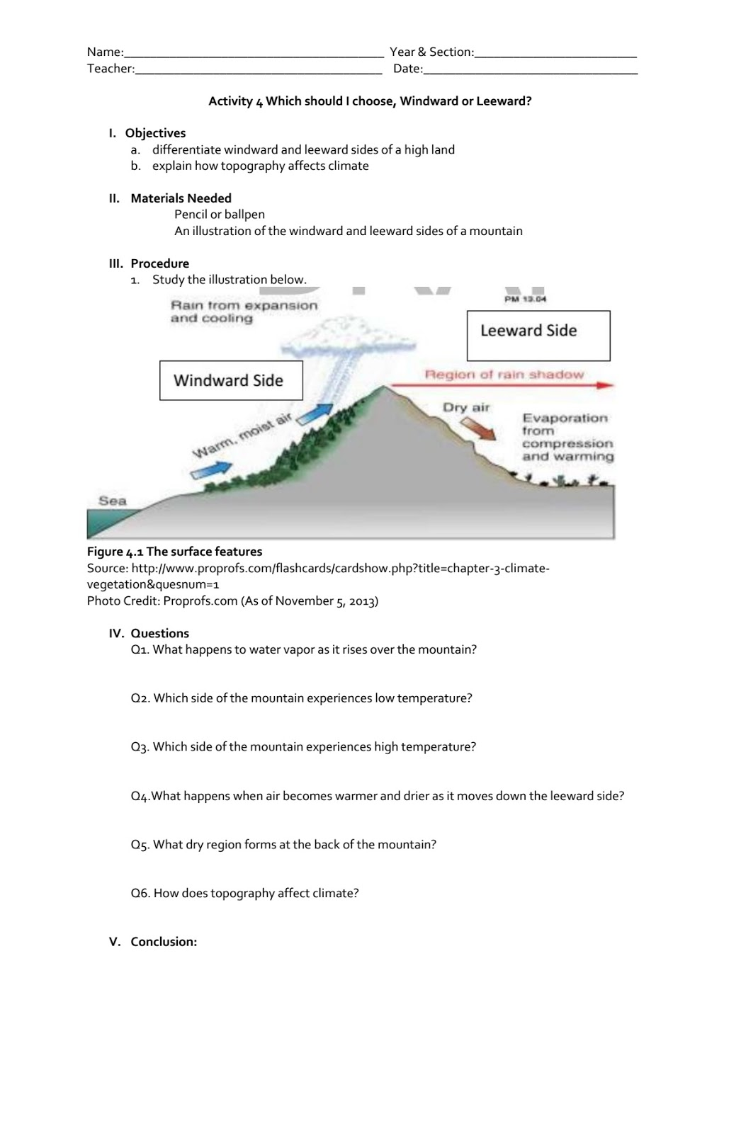 Science Concepts And Questions K To 12 Climate Activities