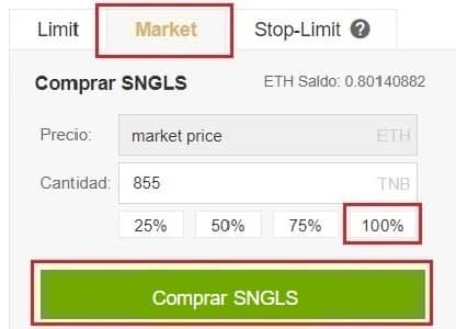 Comprar y Guardar en Wallet Monedero SingularDTV (SNGLS)