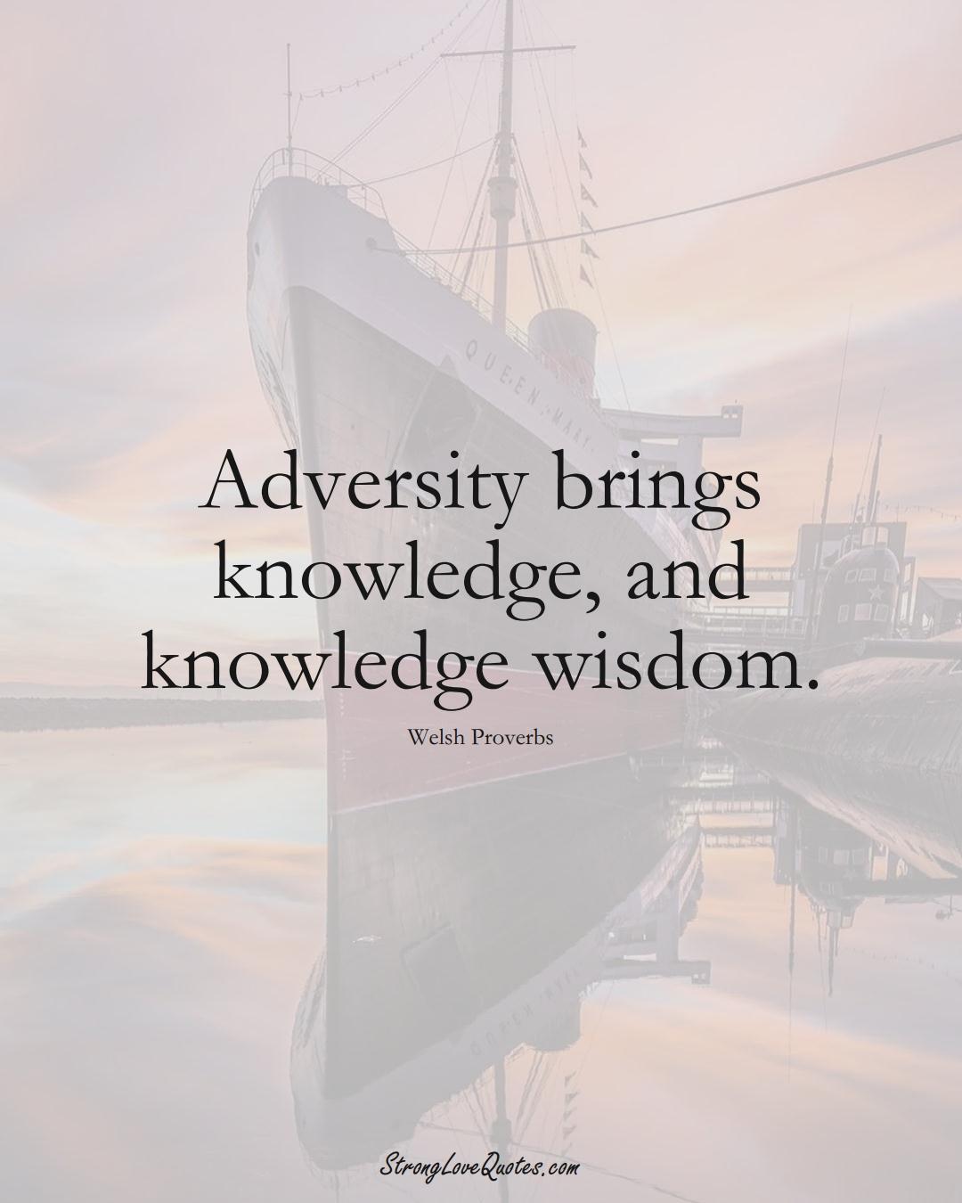 Adversity brings knowledge, and knowledge wisdom. (Welsh Sayings);  #EuropeanSayings