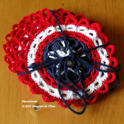 Patriotic Americana Star Coaster By Ruth Sandra Sperling of RSS Designs In Fiber