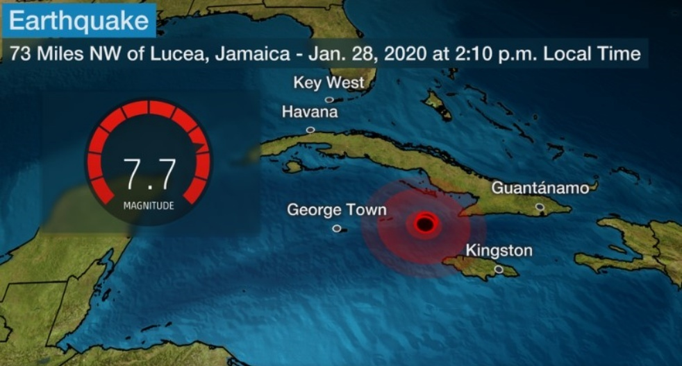 Powerful Magnitude 7.7 Earthquake Strikes Near Jamaica and Cuba