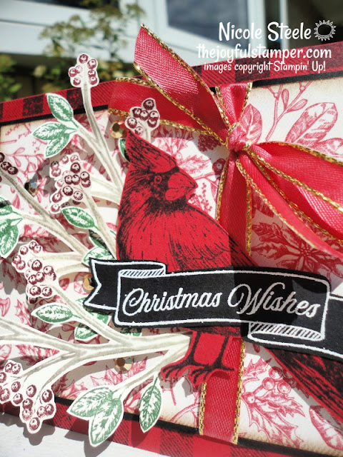 christmas card, toile christmas, stampin' up!, vintage Christmas card, buffalo check, cardmaking, how to make a card, learn to stamp, nicole steele, independent stampin' up! demonstrator, the joyful stamper