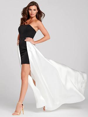 Ellie Wilde Strapless black & white color prom dress