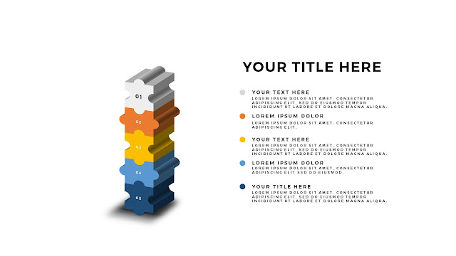 Free PowerPoint Template with 5 pieces 3D Puzzle white background