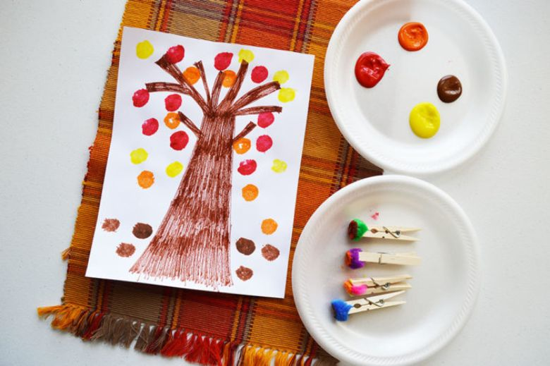 pom pom fall tree autumn craft for kids