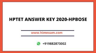 HPTET ANSWER KEY 2020-HPBOSE