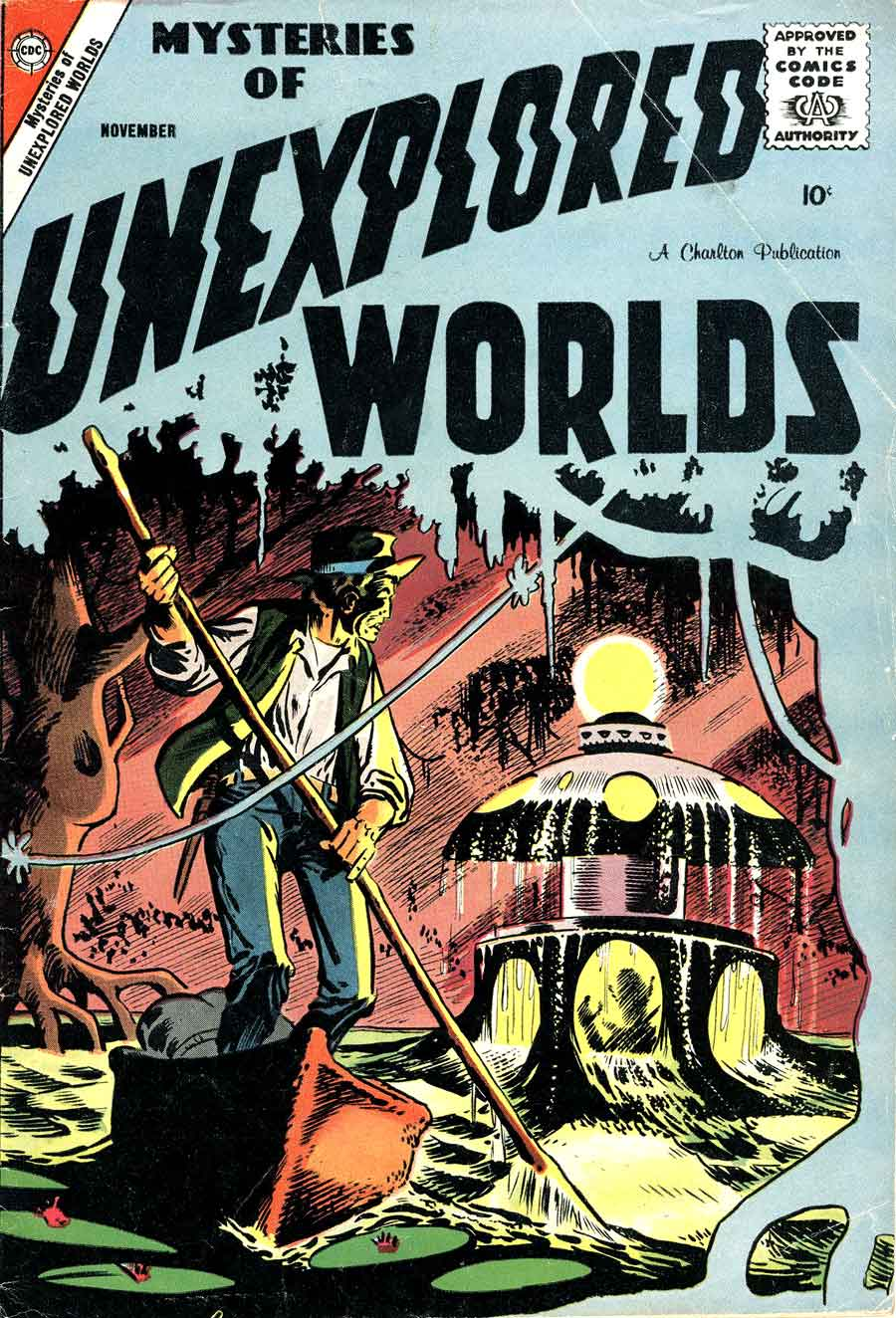 Mysteries of Unexplored Worlds v1 #10 charlton comic book cover art by Steve Ditko