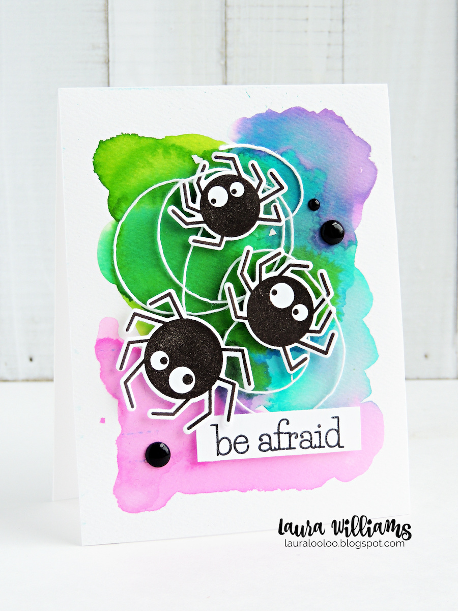 Make a handmade Halloween card that's sweet and not spooky, with the Spider Trio stamps and dies from Impression Obsession. I created a colorful background with watercolor, added white twine as a cobweb, and then popped three of these friendly stamped and die-cut spiders on top with foam tape. They're adorable! Stop by my blog to see more about this card, plus lots more Halloween cardmaking inspiration!