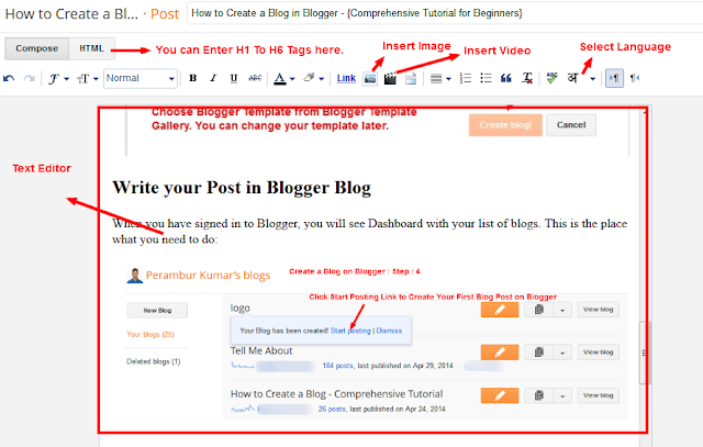 Create a Blog on Blogger - Enter Post Title, Insert Image, Video, Select Language - Step-5