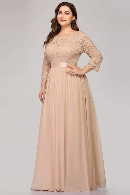 Plus Size Lace Chiffon Bridesmaid Dresses