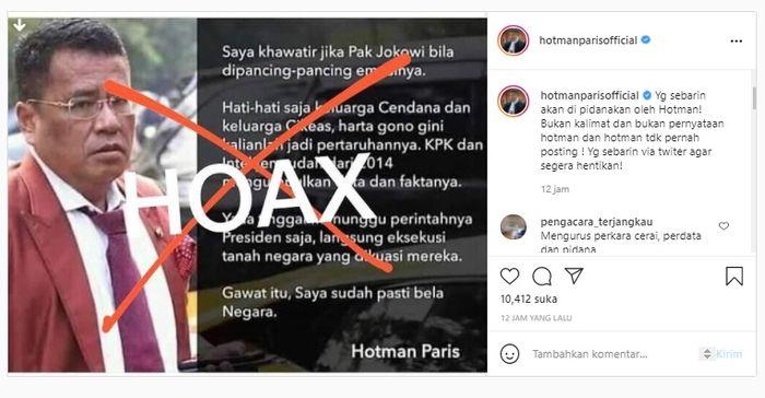 Unggahan Instagram Hotman Paris. Instagram @hotmanparisofficial