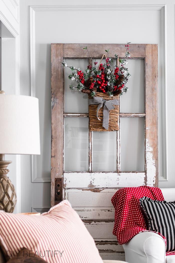 antique door with Christmas basket