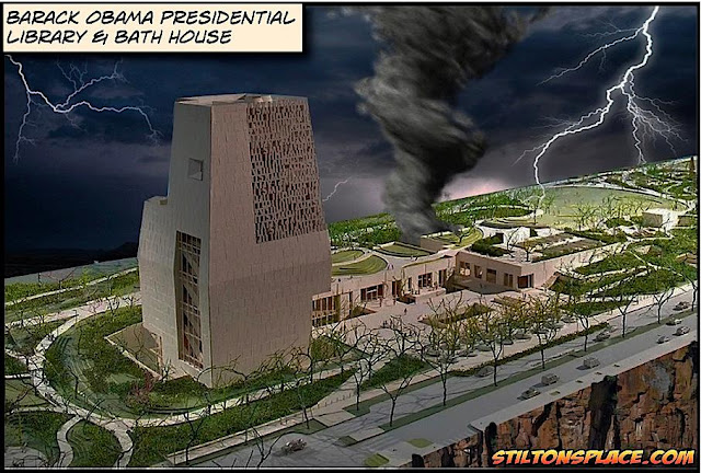 stilton's place, stilton, political, humor, conservative, cartoons, jokes, hope n' change, obama library, chicago, obama