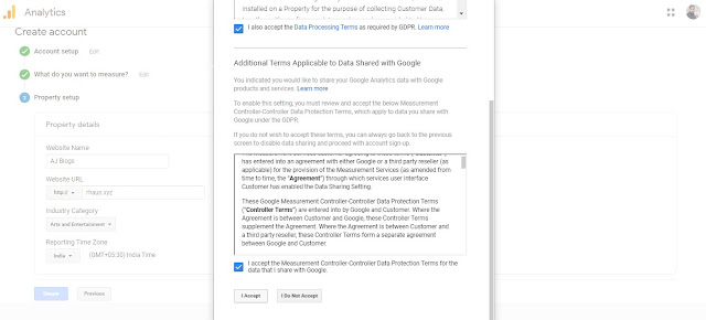 Accept Google Analytics Terms and Conditions