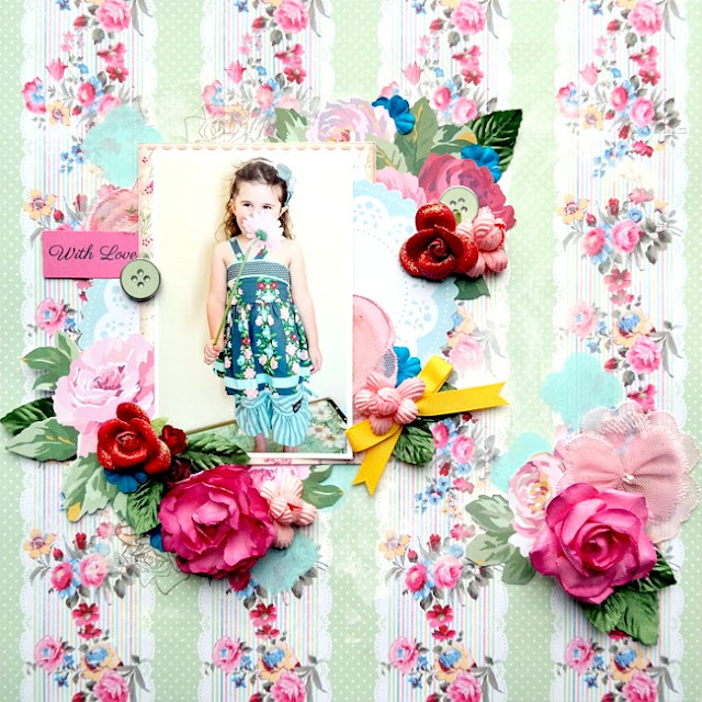 Spring Red Pink and Blue Mixed Media Layout with Flowers and Stenciling