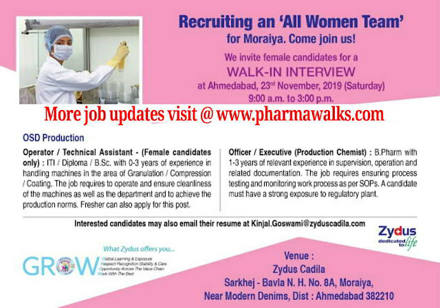 Zydus walk-in interview for Freshers & Experienced Female candidates on 23rd Nov' 2019