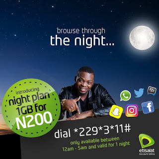 Etisalat Released New 1GB Data Night Plan For N200