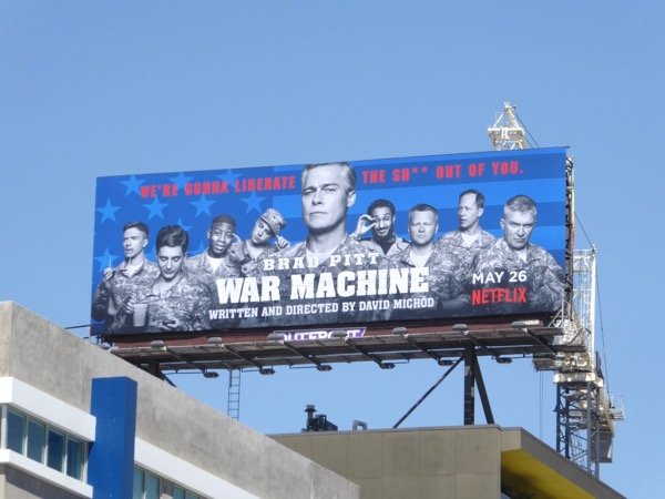 Brad Pitt War Machine film billboard