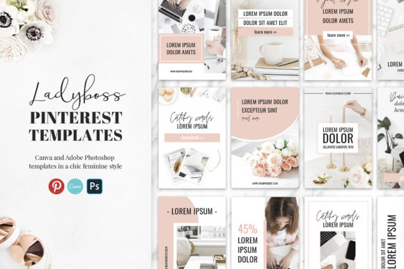 Ladyboss Pinterest Templates Canva[Photoshop][Background][6085465]