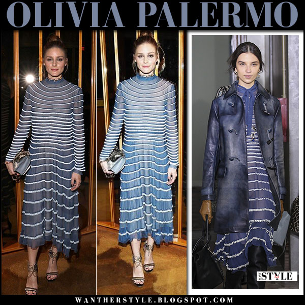 Olivia Palermo in blue striped midi dress valentino and ankle strap sandals gianvito rossi augusta what she wore may 23 2017