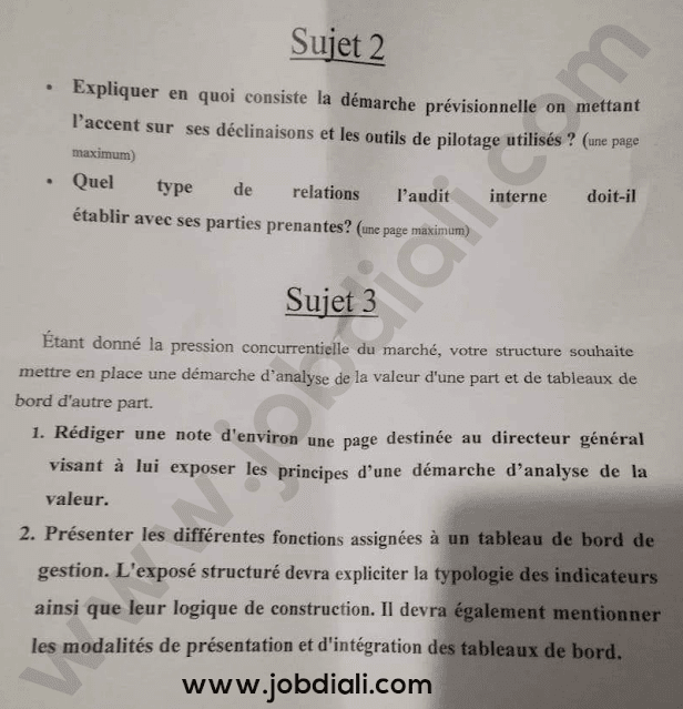 Exemple Concours Administrateurs 2ème grade Audit et Contrôle de Gestion - Ministère de la Santé