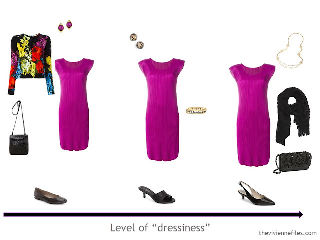 3 outfit options in a 3 dress travel capsule wardrobe for a formal weekend