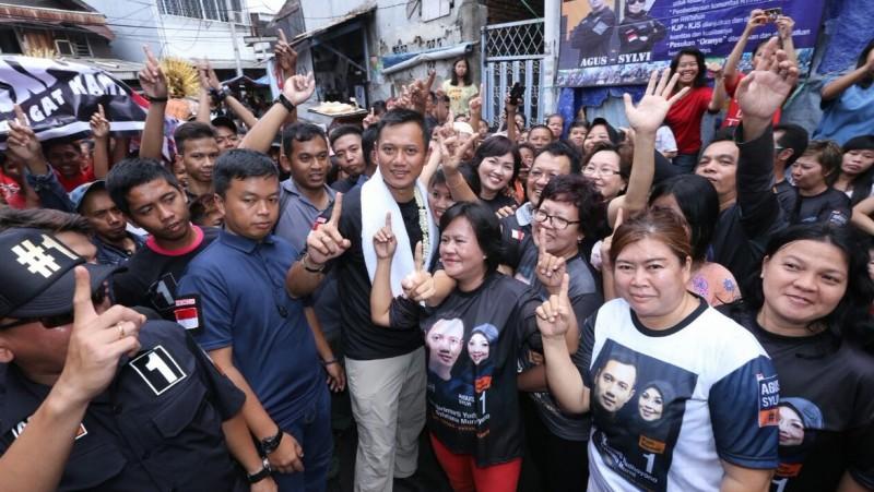 Agus Harimurti Yudhoyono kampanye di Tanah Sereal, Tambora, Jakbar