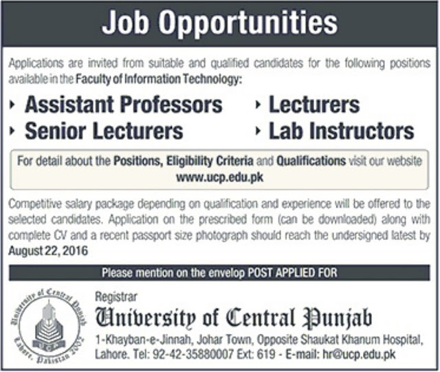 Lecturers Jobs in Lahore University of Central Punjab Jobs in Pakistan