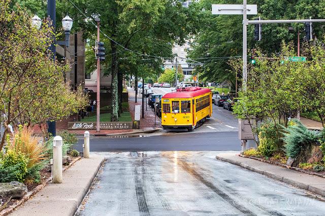 Metro Streetcar 410 at West Markham Street in Little Rock, AR.