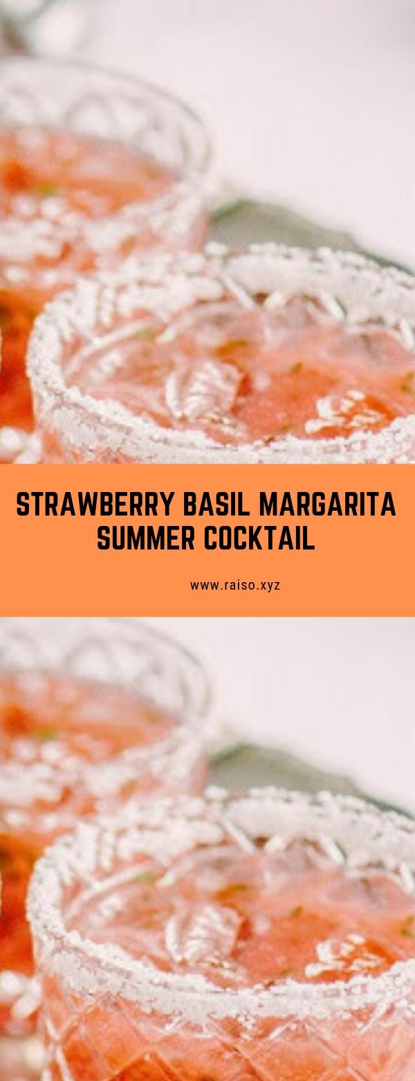 Strawberry Basil Margarita Summer Cocktail #summercocktail #summerdrink #strawberry
