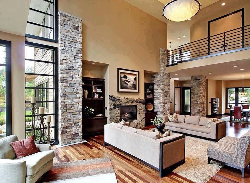 ide rumah batu alam tampak depan dan interior lengkap