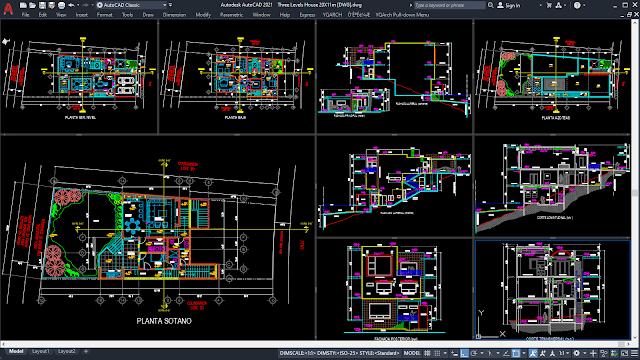 Three Levels House 20X11m² [DWG]