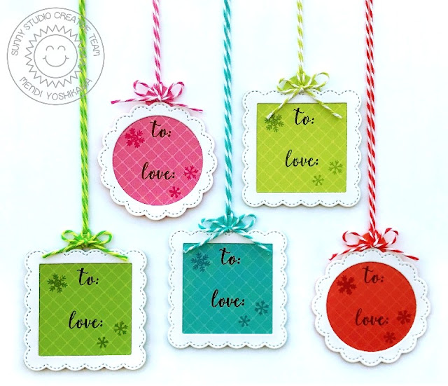 Sunny Studio: Stitched Scalloped Circle & Square Mini Christmas Holiday Gift Tags (using Fancy Frames Circle & Square Dies, Very Merry 6x6 Paper & Season's Greetings Stamps)
