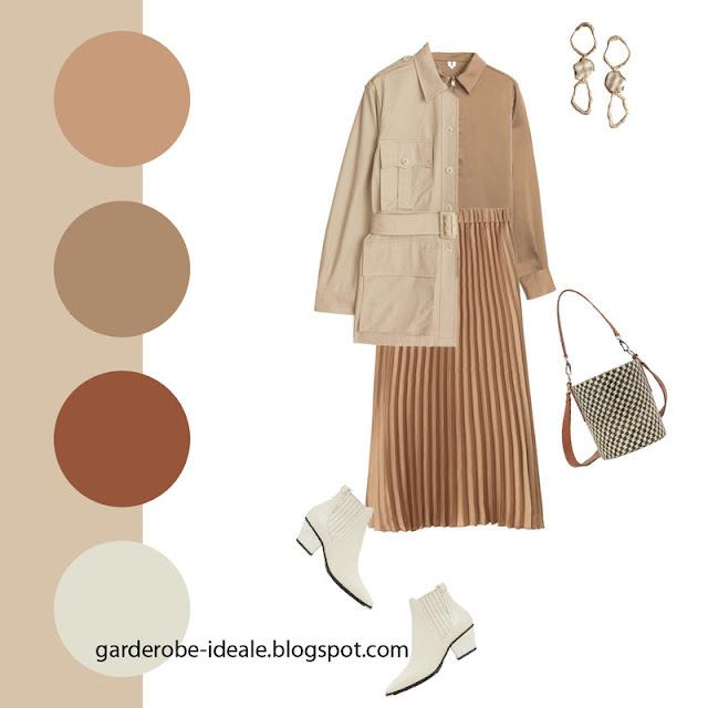 Монохромный комплект в коричневых тонах с жакетом утилити и плиссированной юбкой