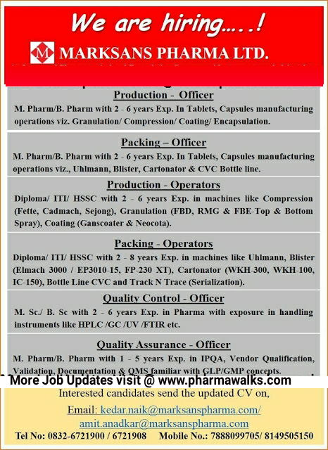 Marksans Pharma urgent job openings for Production/ Packing/ QA/ QC