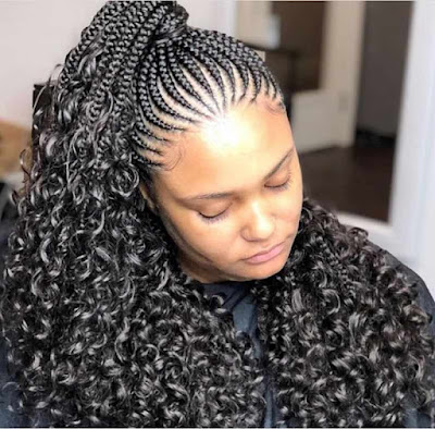 Latest all back Ghana weaving hairstyle