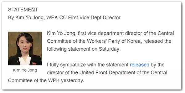 Kim Yo Jong's June 13th Statement