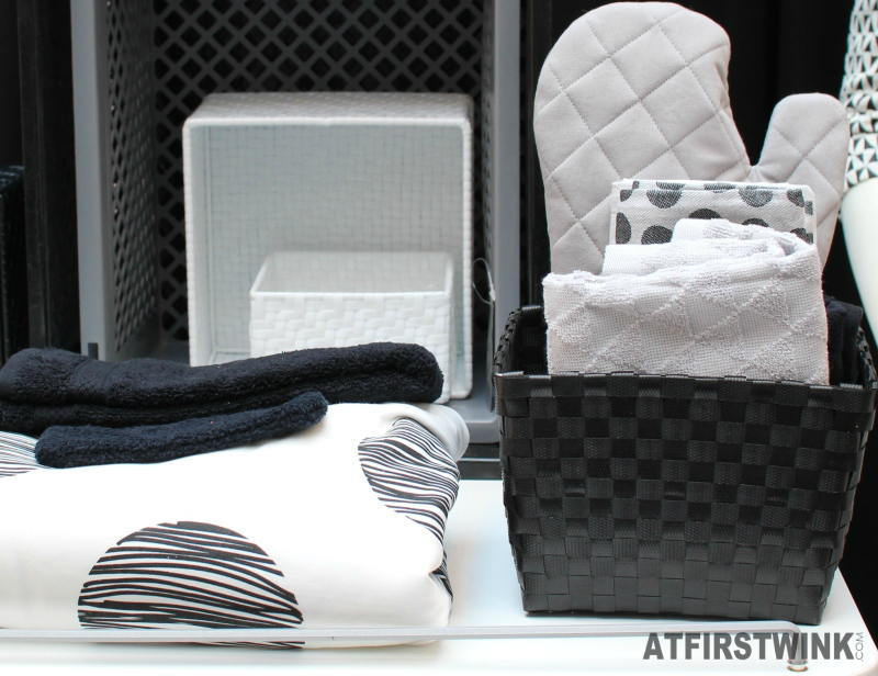 HEMA black white woven baskets towels
